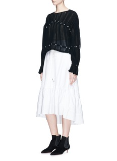 3.1 Phillip Lim Corded pintuck silk chiffon blouse