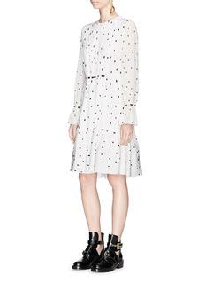3.1 Phillip Lim Spot print pintuck silk crepe peplum dress