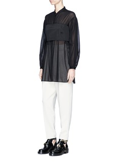 3.1 Phillip Lim Corset bodice long sleeve cotton shirt