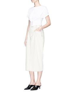 3.1 Phillip LimLace-up corset waist denim skirt