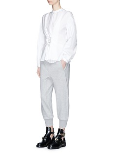 3.1 Phillip Lim Smocked waist cotton terry cropped jogging pants
