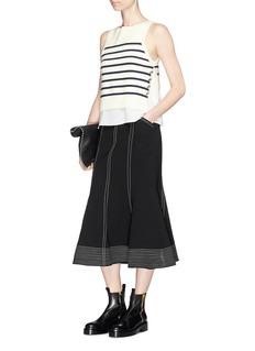 3.1 Phillip Lim 'Sailor' crepe underlay stripe Merino wool blend sweater