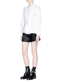 3.1 Phillip Lim Embellished lace-up front cotton poplin blouse