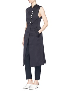 3.1 Phillip Lim Faux pearl button satin long vest