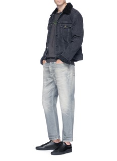 Denham Distressed cropped jeans