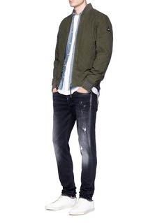 Denham Waxed canvas padded bomber jacket