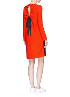 VICTORIA, VICTORIA BECKHAMRibbon drawstring cutout back crepe dress