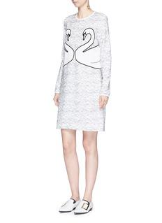 VICTORIA, VICTORIA BECKHAMSwan appliqué lace overlay crepe dress