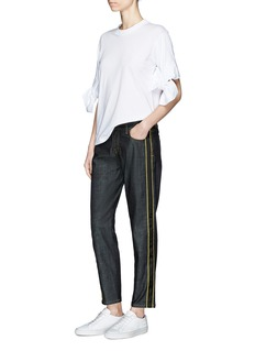 VICTORIA, VICTORIA BECKHAM Selvedge ribbon trim high rise raw denim jeans