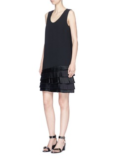 VICTORIA, VICTORIA BECKHAM Pleated hem crepe shift dress