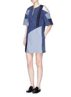 VICTORIA, VICTORIA BECKHAM Patchwork denim dress
