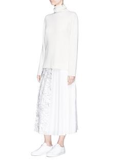 VICTORIA, VICTORIA BECKHAM Swan sketch print habotai pleated skirt