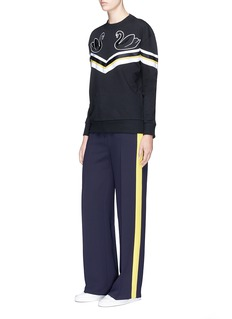 VICTORIA, VICTORIA BECKHAM Swan patch stripe panel oversized sweatshirt