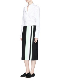 VICTORIA, VICTORIA BECKHAM Belted colourblock wool gaberdine wrap skirt