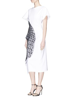 Maticevski 'Annex' beaded mesh panel cady sheath dress