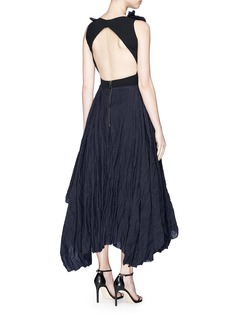 Maticevski'Photogenic' tulle underlay linen open back dress