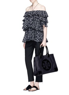 Tory Burch 'Ella' patent leather logo patch nylon tote