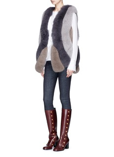 FUREVER Colourblock fox fur long gilet