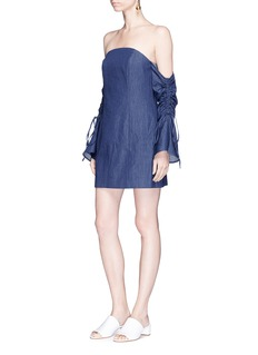 C/Meo Collective  'Right Kind of Madness' chambray off-shoulder dress