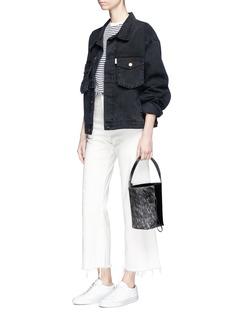 Kara 'Panel' calf hair and leather crossbody bucket bag
