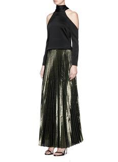 Galvan LondonPleated lamé maxi skirt