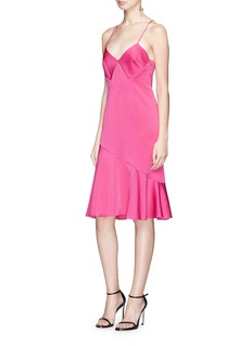 Galvan London Diamond cutout satin dress