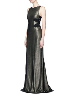 Galvan LondonZigzag side band sleeveless lamé gown