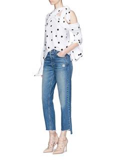 Monse Polka dot print silk one-shoulder shirt