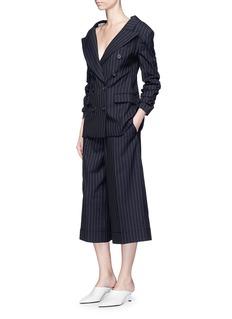 Monse Ruched sleeve stripe wool blazer