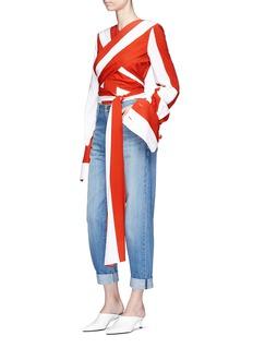 Monse Wraparound sash tie stripe crepe top