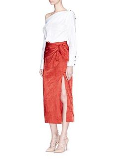 Monse High split bow crinkled satin skirt