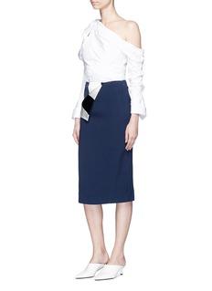 Monse Stripe satin foldover crepe skirt