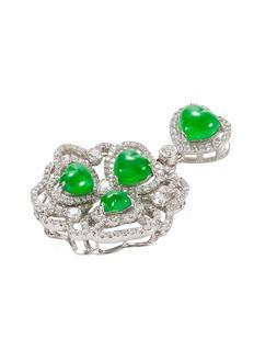 Samuel Kung Diamond jadeite 18k white gold pendant