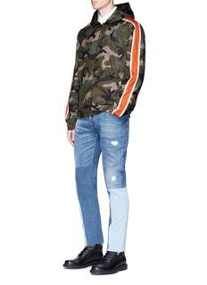 Valentino Stripe sleeve camouflage print windbreaker jacket