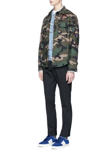 Valentino Tattoo bead embroidered camouflage print shirt jacket