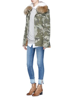 Mr & Mrs Italy Raccoon collar fox fur camouflage field jacket