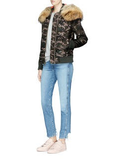 Mr & Mrs Italy Fur trim camouflage padded bomber jacket