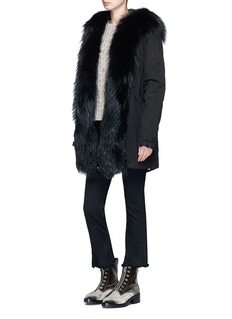 Mr & Mrs Italy 'Zarina' fox fur trim hooded mini parka