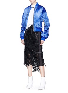 MSGM Ruched sleeve cropped satin bomber jacket