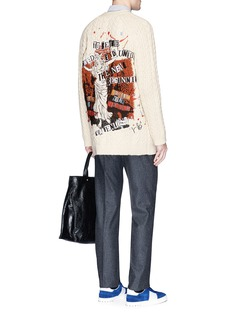 Valentino x Jamie Reid slogan embroidered cable knit cardigan