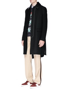 Valentino Removable leather collar basketweave car coat