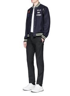 Valentino x Jamie Reid star slogan appliqué wool varsity jacket