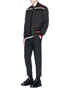 McQ Alexander McQueenStripe yoke quilted puffer bomber jacket