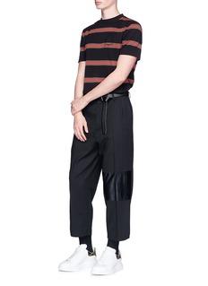 McQ Alexander McQueen'Taigen' cropped lambskin leather panel virgin wool pants