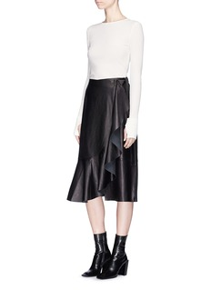 Helmut Lang Ruffle leather wrap skirt