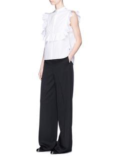 Helmut LangRuffle bib sleeveless cotton poplin shirt