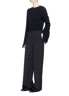 Helmut Lang Ruffle cuff wool-cashmere cropped sweater