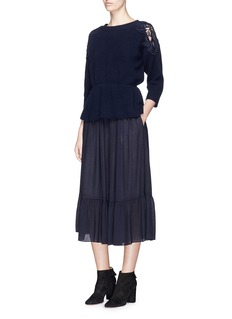 CHLOÉ镂空花卉蕾丝拼接收腰针织衫