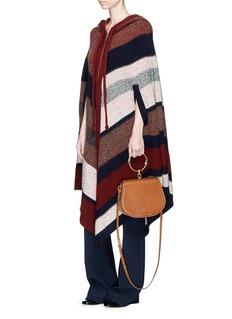 Chloé Oversized colourblock stripe tweed knit hooded cape