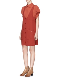 Chloé Smocked effect pouf sleeve crepe shirt